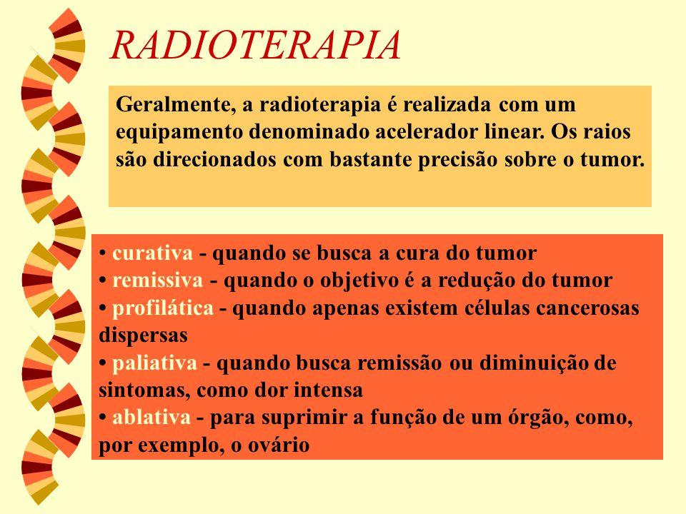 RADIOTERAPIA curativa - quando se busca a cura do tumor remissiva - quando o objetivo é a redução do tumor profilática - quando apenas existem células