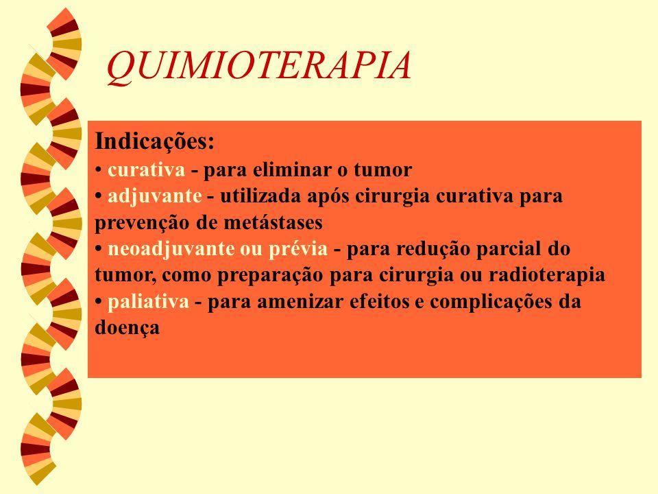 QUIMIOTERAPIA Indicações: curativa - para eliminar o tumor adjuvante - utilizada após cirurgia curativa para prevenção de metástases neoadjuvante ou p
