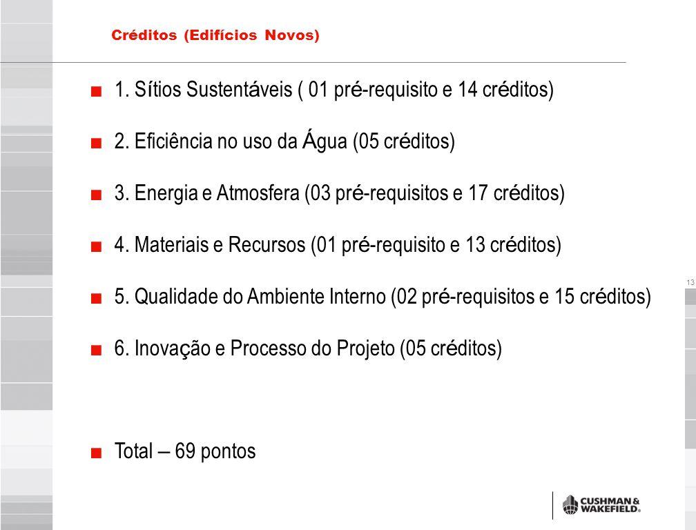 13 Créditos (Edifícios Novos) ■ 1. S í tios Sustent á veis ( 01 pr é -requisito e 14 cr é ditos) ■ 2. Eficiência no uso da Á gua (05 cr é ditos) ■ 3.