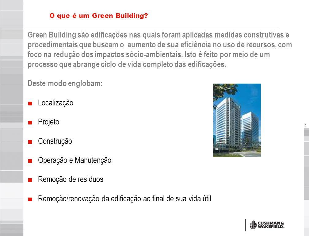 2 O que é um Green Building? Green Building são edificações nas quais foram aplicadas medidas construtivas e procedimentais que buscam o aumento de su