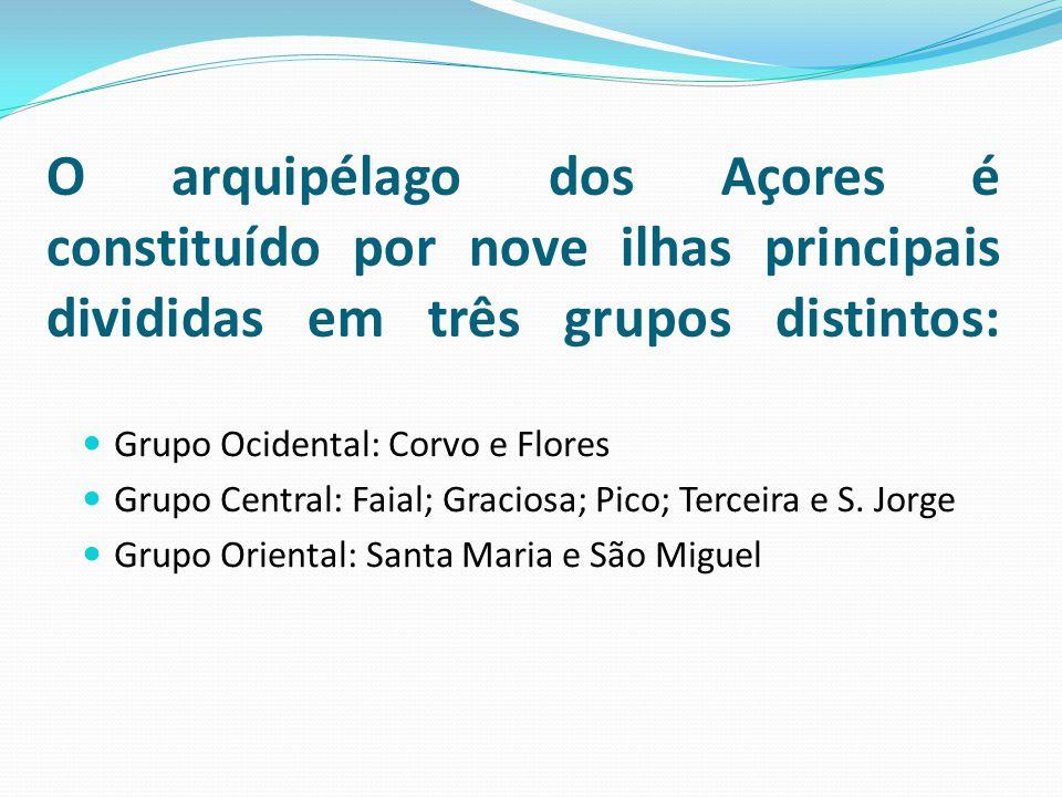 O arquipélago dos Açores é constituído por nove ilhas principais divididas em três grupos distintos: Grupo Ocidental: Corvo e Flores Grupo Central: Faial; Graciosa; Pico; Terceira e S.