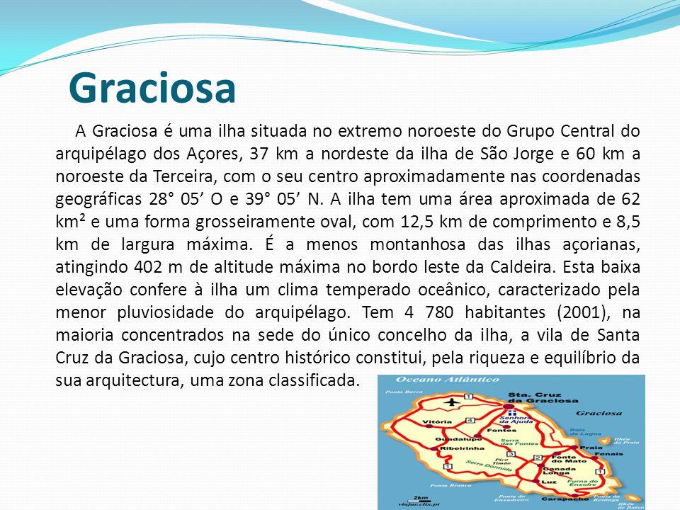 Graciosa A Graciosa é uma ilha situada no extremo noroeste do Grupo Central do arquipélago dos Açores, 37 km a nordeste da ilha de São Jorge e 60 km a noroeste da Terceira, com o seu centro aproximadamente nas coordenadas geográficas 28° 05' O e 39° 05' N.