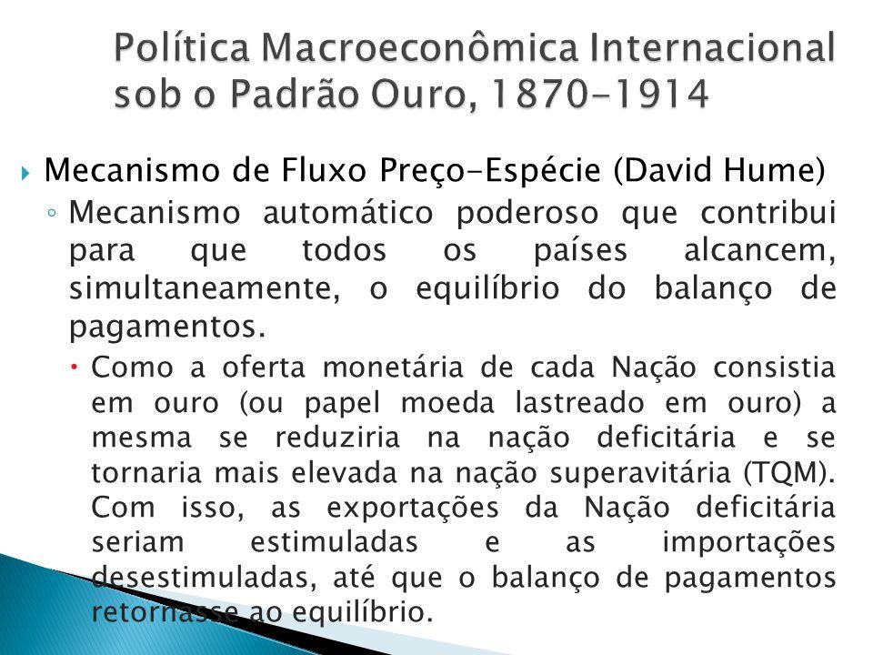  Mecanismo de Fluxo Preço-Espécie (David Hume) ◦ Mecanismo automático poderoso que contribui para que todos os países alcancem, simultaneamente, o eq