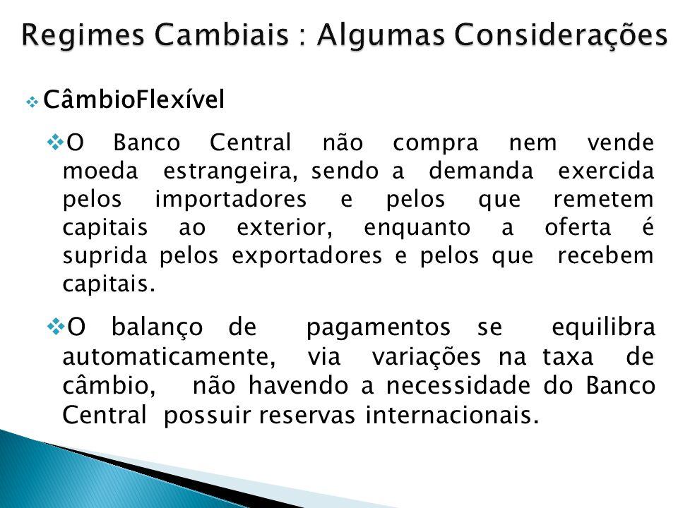  CâmbioFlexível  O Banco Central não compra nem vende moeda estrangeira, sendo a demanda exercida pelos importadores e pelos que remetem capitais ao