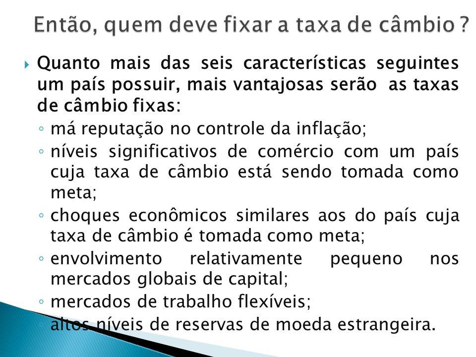  Quanto mais das seis características seguintes um país possuir, mais vantajosas serão as taxas de câmbio fixas: ◦ má reputação no controle da inflaç