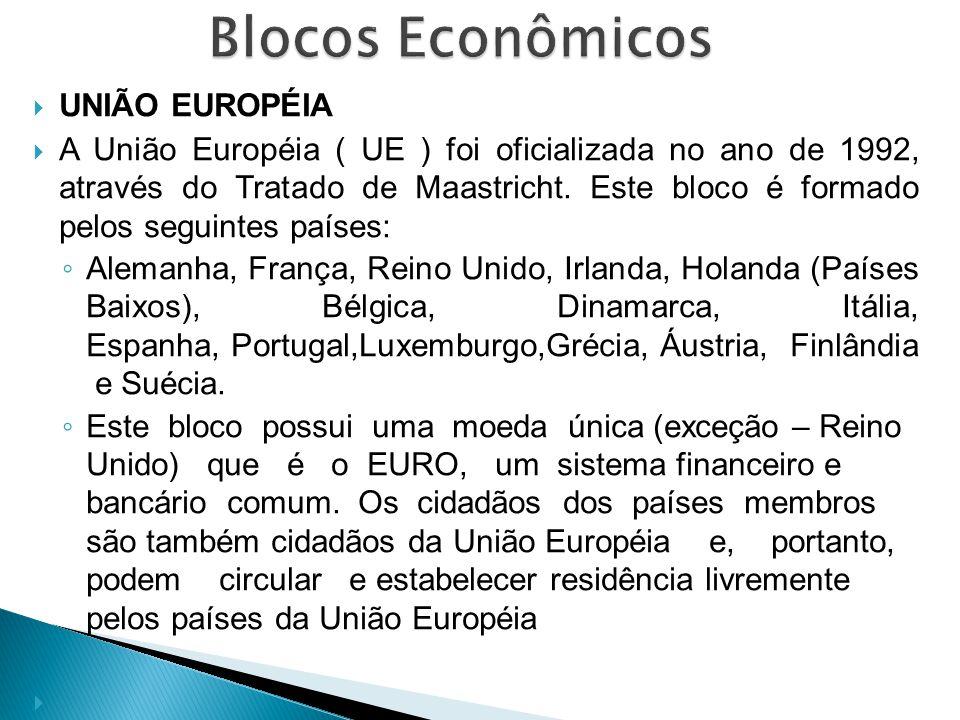  UNIÃO EUROPÉIA  A União Européia ( UE ) foi oficializada no ano de 1992, através do Tratado de Maastricht. Este bloco é formado pelos seguintes paí