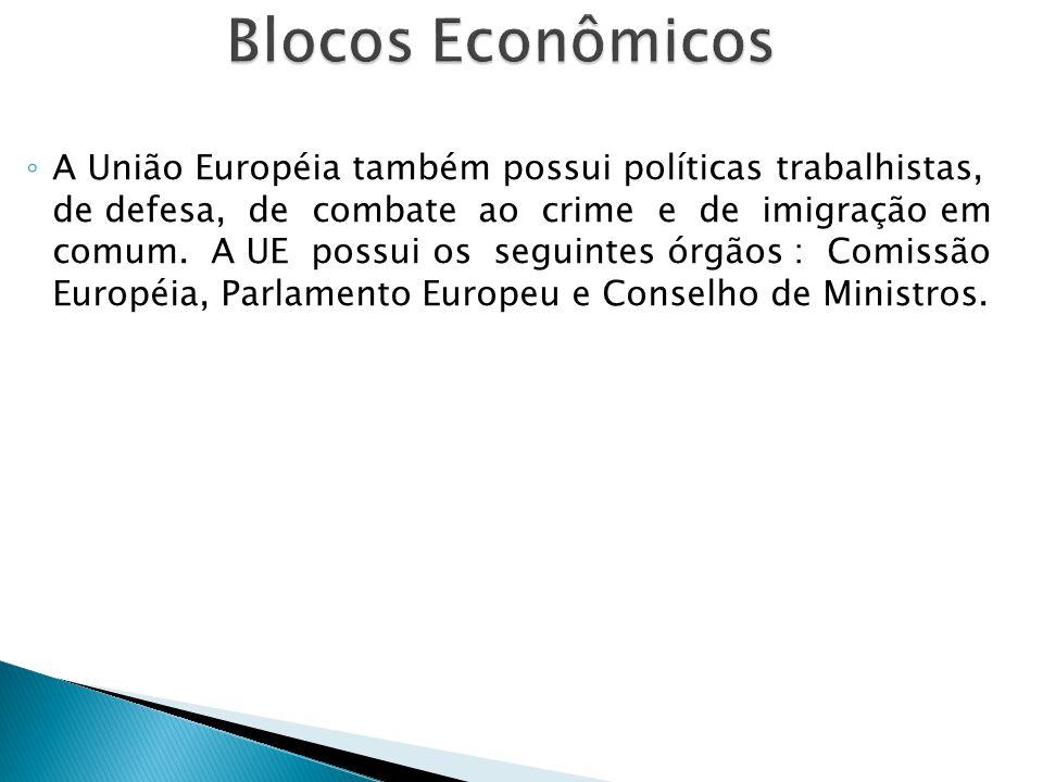 ◦ A União Européia também possui políticas trabalhistas, de defesa, de combate ao crime e de imigração em comum. A UE possui os seguintes órgãos : Com