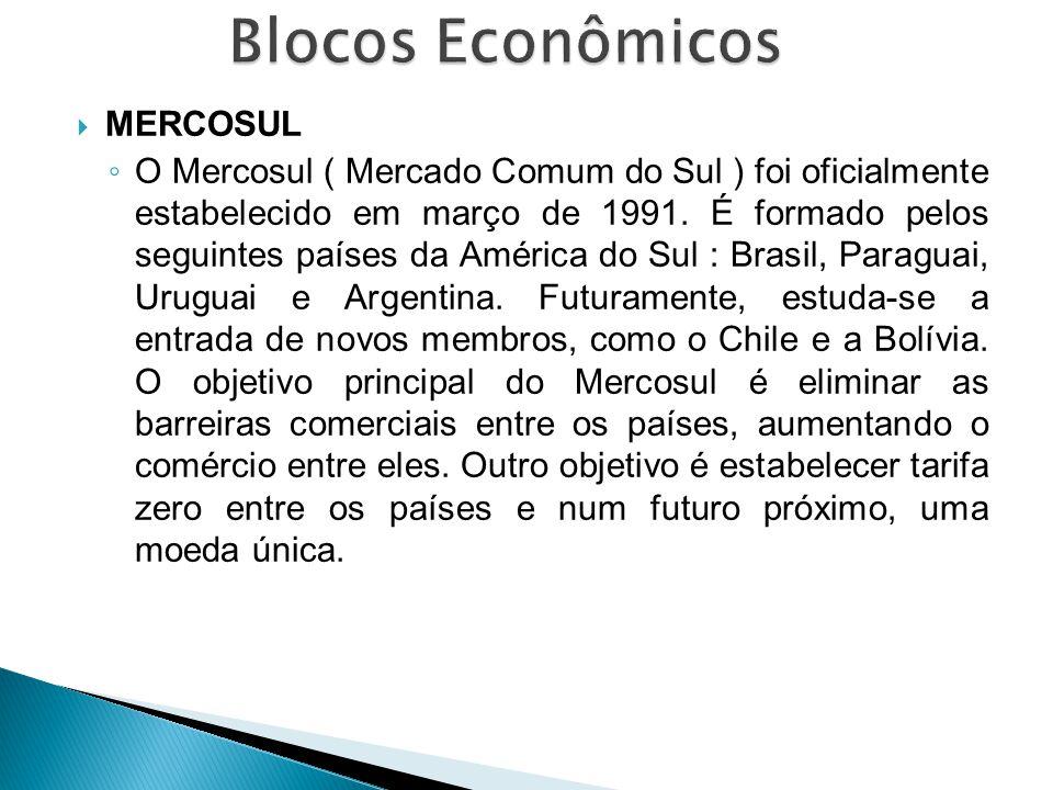 MERCOSUL ◦ O Mercosul ( Mercado Comum do Sul ) foi oficialmente estabelecido em março de 1991. É formado pelos seguintes países da América do Sul :