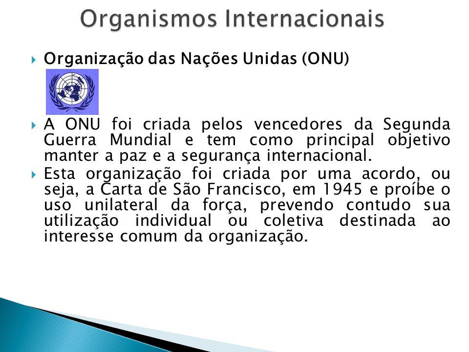  Organização das Nações Unidas (ONU)  A ONU foi criada pelos vencedores da Segunda Guerra Mundial e tem como principal objetivo manter a paz e a seg