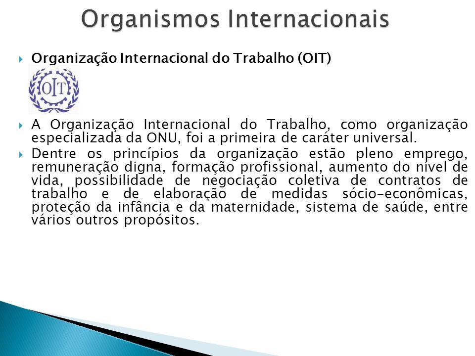  Organização Internacional do Trabalho (OIT)  A Organização Internacional do Trabalho, como organização especializada da ONU, foi a primeira de cará