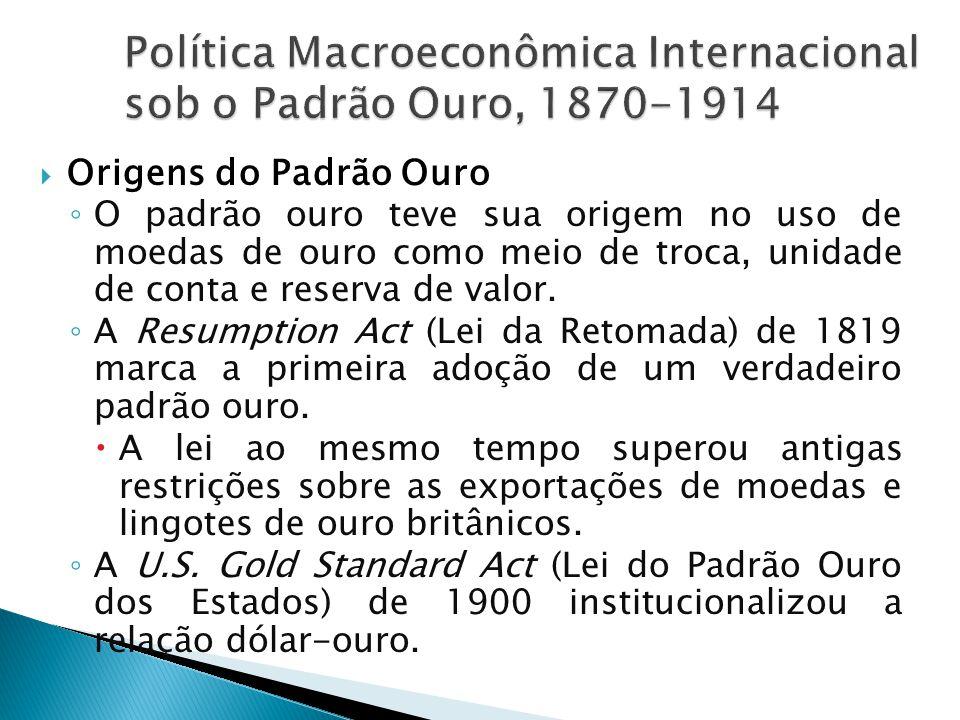  Equilíbrio Externo sob o Padrão Ouro ◦ Bancos centrais  Sua responsabilidade principal era preservar a paridade oficial entre sua moeda e o ouro.