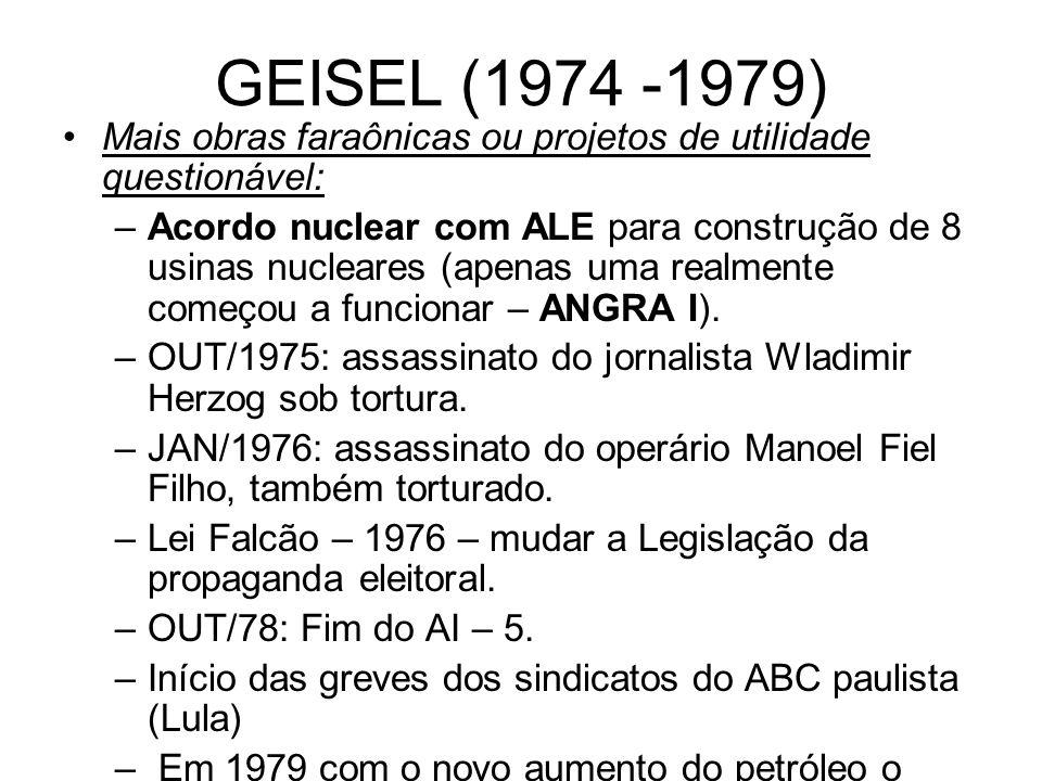 GEISEL (1974 -1979) Mais obras faraônicas ou projetos de utilidade questionável: –Acordo nuclear com ALE para construção de 8 usinas nucleares (apenas