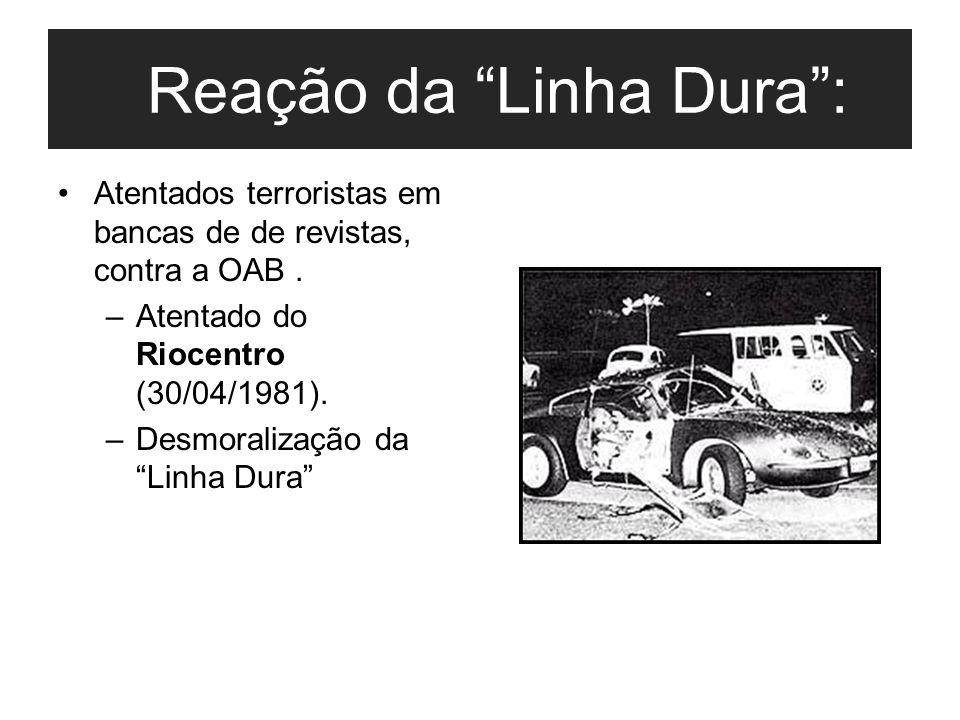 """Reação da """"Linha Dura"""": Atentados terroristas em bancas de de revistas, contra a OAB. –Atentado do Riocentro (30/04/1981). –Desmoralização da """"Linha D"""