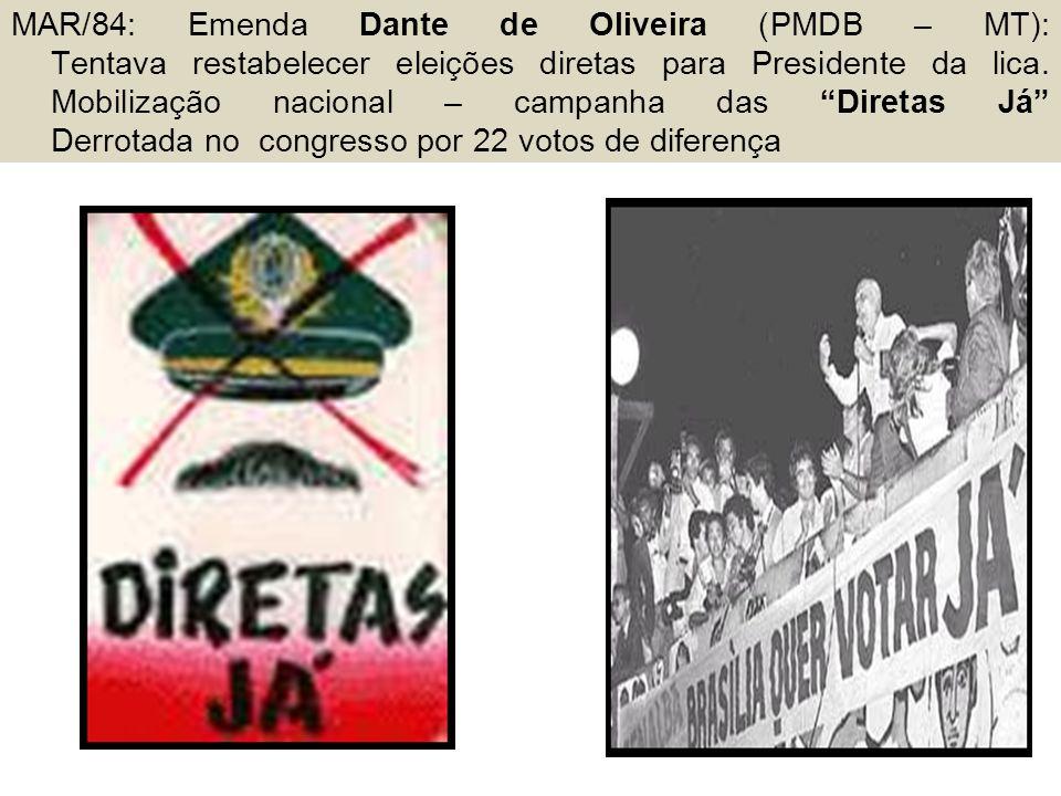 """MAR/84: Emenda Dante de Oliveira (PMDB – MT): Tentava restabelecer eleições diretas para Presidente da lica. Mobilização nacional – campanha das """"Dire"""