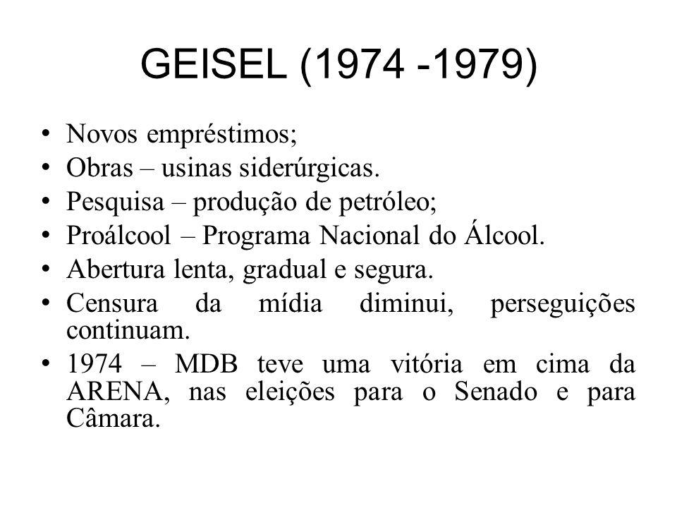 GEISEL (1974 -1979) Mais obras faraônicas ou projetos de utilidade questionável: –Acordo nuclear com ALE para construção de 8 usinas nucleares (apenas uma realmente começou a funcionar – ANGRA I).
