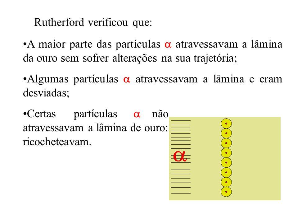 Rutherford verificou que: A maior parte das partículas  atravessavam a lâmina da ouro sem sofrer alterações na sua trajetória; Algumas partículas  a
