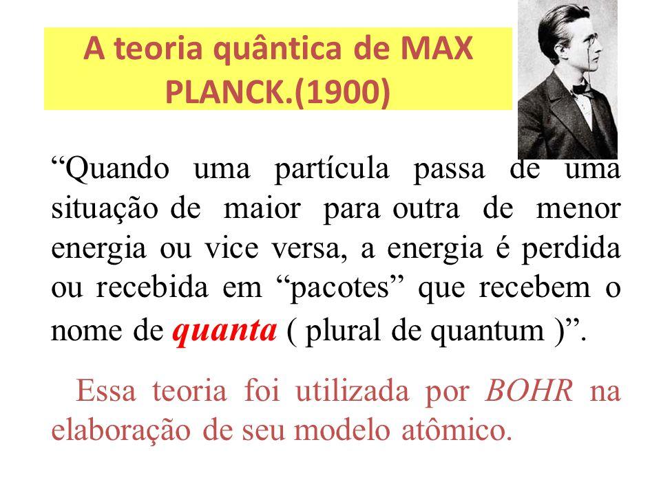 """A teoria quântica de MAX PLANCK.(1900) """"Quando uma partícula passa de uma situação de maior para outra de menor energia ou vice versa, a energia é per"""
