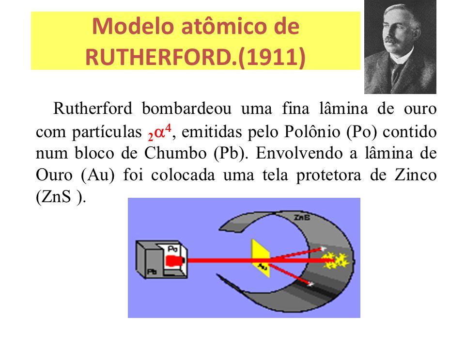 Modelo atômico de RUTHERFORD.(1911) Rutherford bombardeou uma fina lâmina de ouro com partículas 2    emitidas pelo Polônio (Po) contido num bloco