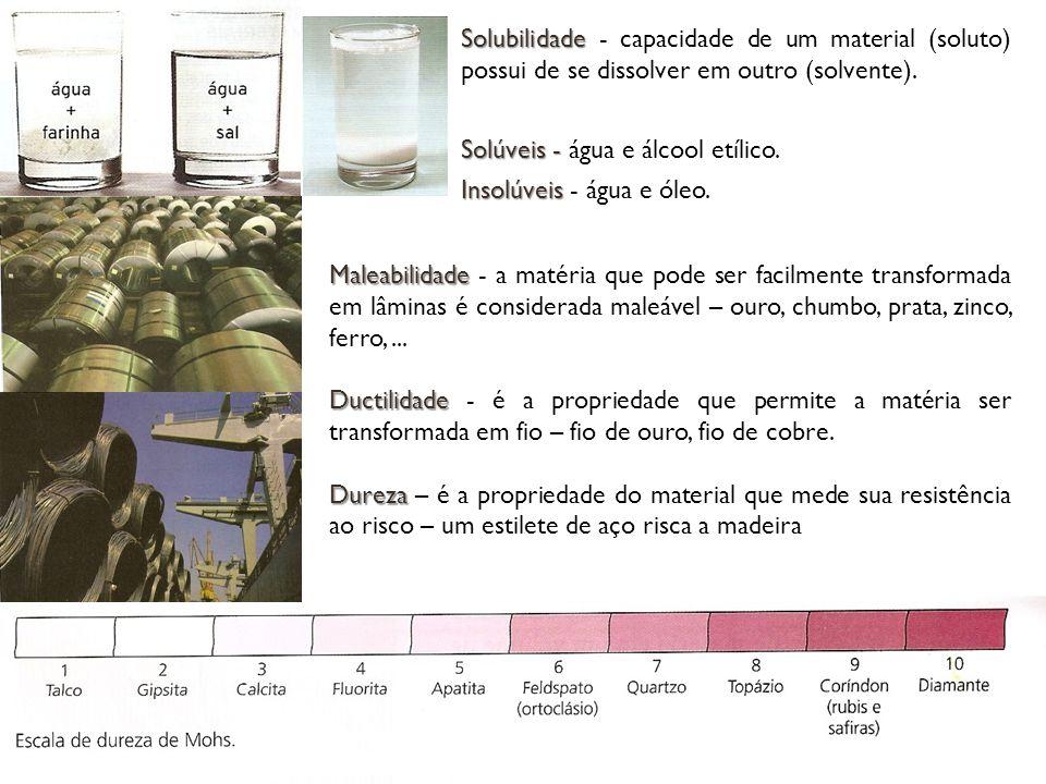 Solubilidade Solubilidade - capacidade de um material (soluto) possui de se dissolver em outro (solvente).
