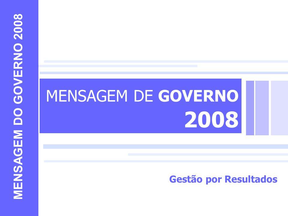 MENSAGEM DE GOVERNO 2008 MENSAGEM DO GOVERNO 2008 Gestão por Resultados