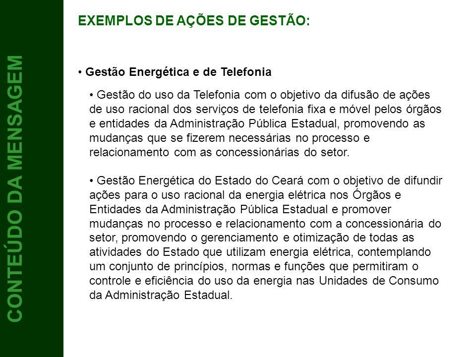 5 CONTEÚDO DA MENSAGEM EXEMPLOS DE AÇÕES DE GESTÃO: Gestão do uso da Telefonia com o objetivo da difusão de ações de uso racional dos serviços de tele