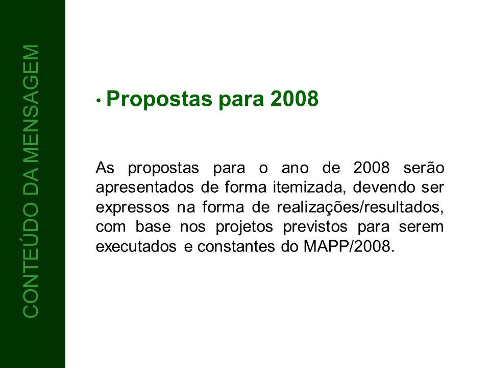5 CONTEÚDO CONTEÚDO DA MENSAGEM Propostas para 2008 As propostas para o ano de 2008 serão apresentados de forma itemizada, devendo ser expressos na fo