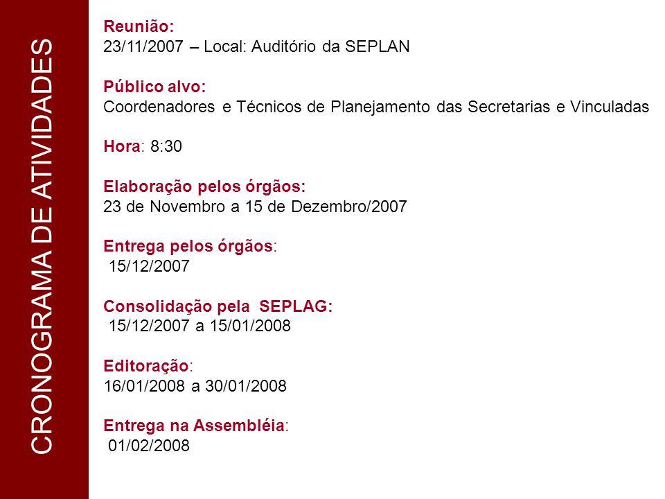 1 CRONOGRAMA Reunião: 23/11/2007 – Local: Auditório da SEPLAN Público alvo: Coordenadores e Técnicos de Planejamento das Secretarias e Vinculadas Hora