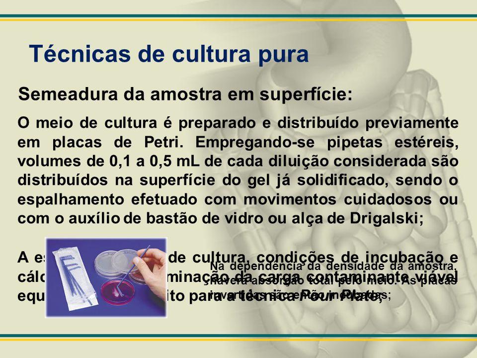 Técnicas de cultura pura A escolha do meio de cultura, condições de incubação e cálculos para determinação da carga contaminante viável equivalem ao d