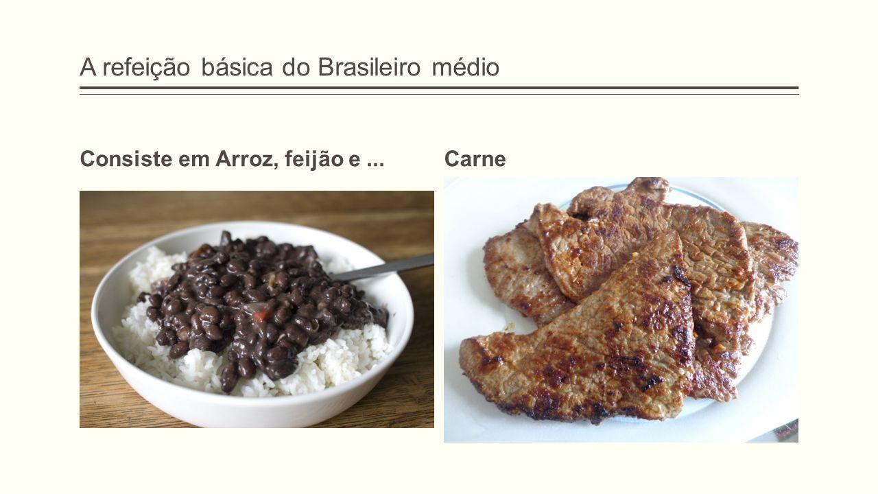 A refeição básica do Brasileiro médio Consiste em Arroz, feijão e...Carne