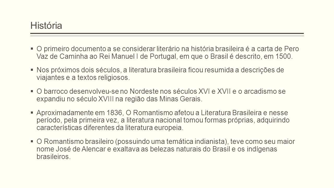 História  O primeiro documento a se considerar literário na história brasileira é a carta de Pero Vaz de Caminha ao Rei Manuel I de Portugal, em que