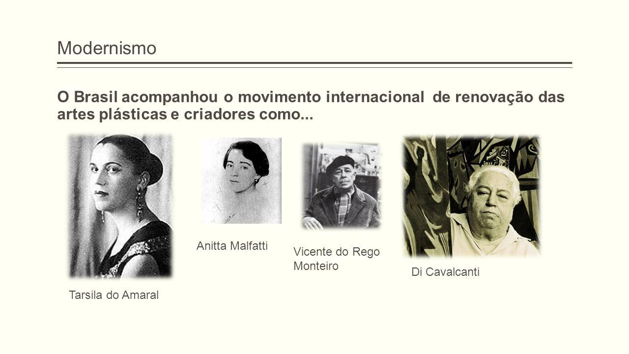 Modernismo O Brasil acompanhou o movimento internacional de renovação das artes plásticas e criadores como... Tarsila do Amaral Anitta Malfatti Vicent