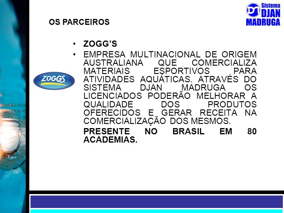 OS PARCEIROS ZOGG'S EMPRESA MULTINACIONAL DE ORIGEM AUSTRALIANA QUE COMERCIALIZA MATERIAIS ESPORTIVOS PARA ATIVIDADES AQUÁTICAS. ATRAVÉS DO SISTEMA DJ