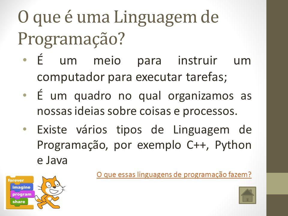 O que é uma Linguagem de Programação? É um meio para instruir um computador para executar tarefas; É um quadro no qual organizamos as nossas ideias so