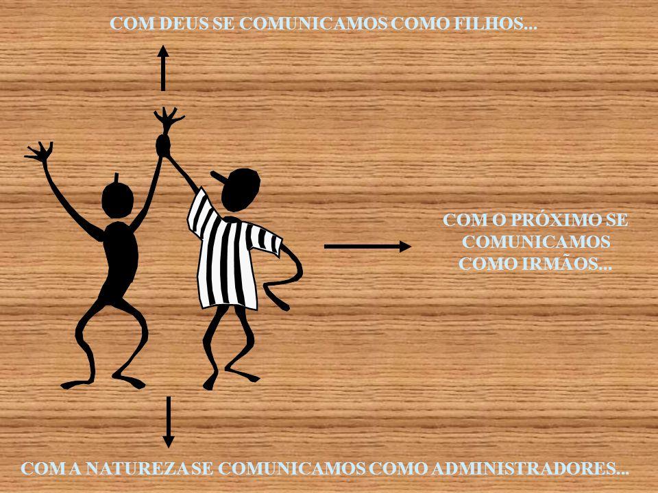COM DEUS SE COMUNICAMOS COMO FILHOS... COM A NATUREZA SE COMUNICAMOS COMO ADMINISTRADORES... COM O PRÓXIMO SE COMUNICAMOS COMO IRMÃOS...