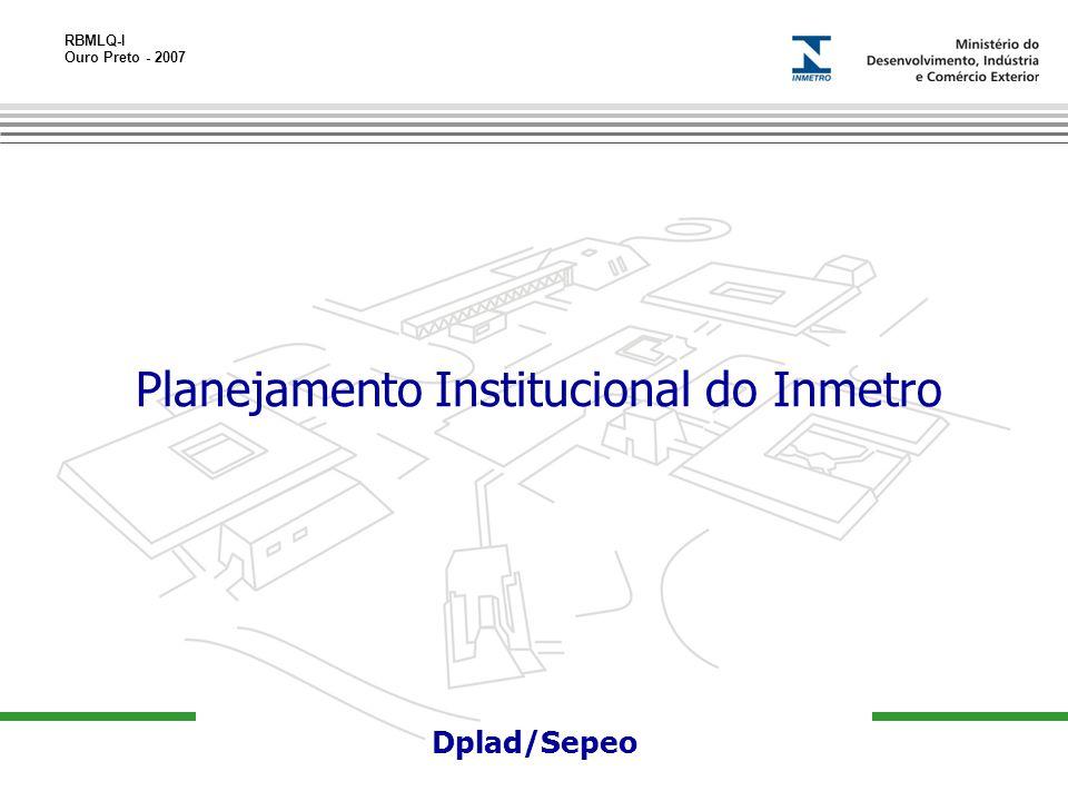 RBMLQ-I Ouro Preto - 2007 13-11-06 Dplad/Sepeo Planejamento Institucional do Inmetro