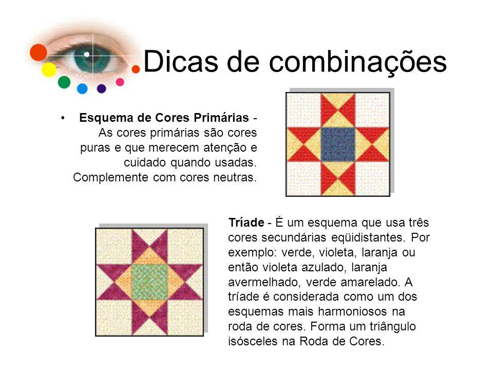 Dicas de combinações Esquema de Cores Primárias - As cores primárias são cores puras e que merecem atenção e cuidado quando usadas. Complemente com co
