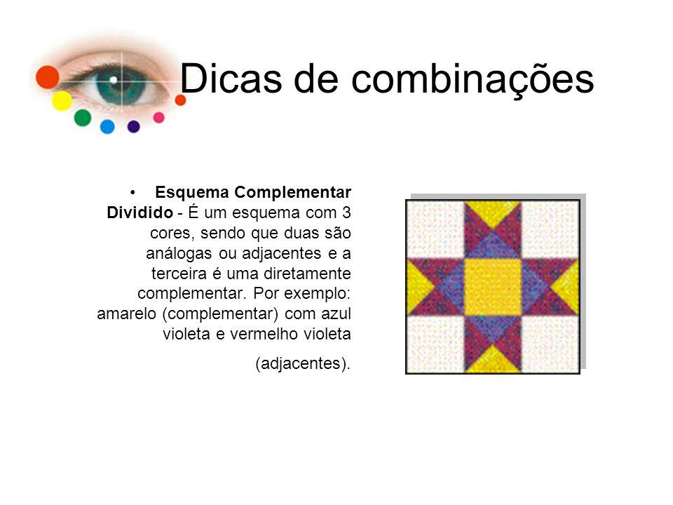 Dicas de combinações Esquema Complementar Dividido - É um esquema com 3 cores, sendo que duas são análogas ou adjacentes e a terceira é uma diretament