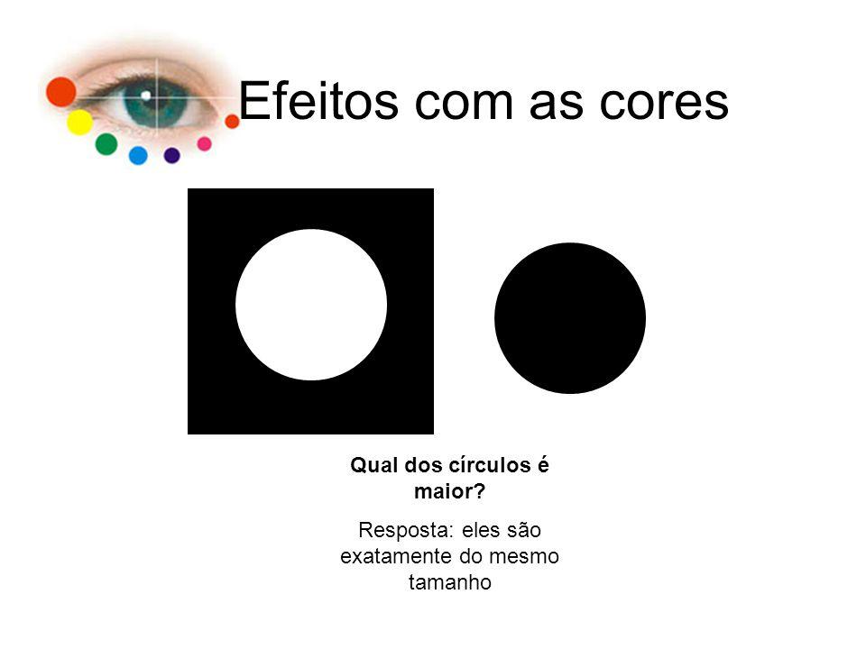 Efeitos com as cores Qual dos círculos é maior? Resposta: eles são exatamente do mesmo tamanho