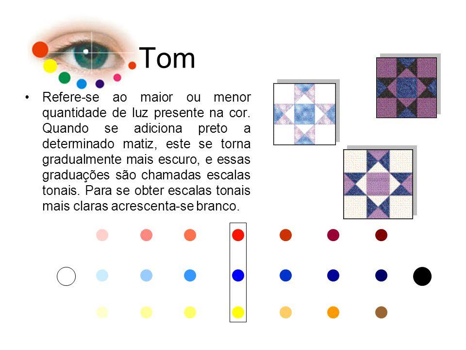 Tom Refere-se ao maior ou menor quantidade de luz presente na cor. Quando se adiciona preto a determinado matiz, este se torna gradualmente mais escur