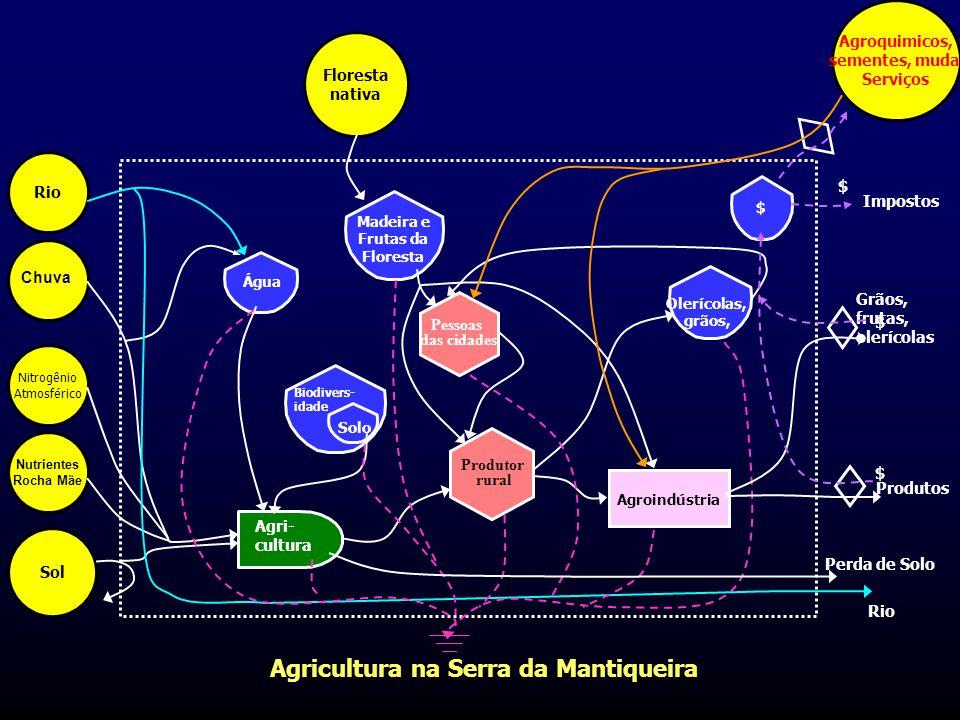 Agricultura na Serra da Mantiqueira Agroindústria Pessoas das cidades Produtor rural Agri- cultura Biodivers- idade Solo Madeira e Frutas da Floresta