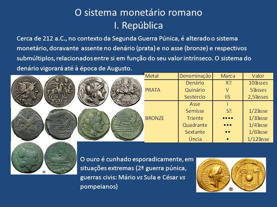 O sistema monetário romano I. República Cerca de 212 a.C., no contexto da Segunda Guerra Púnica, é alterado o sistema monetário, doravante assente no