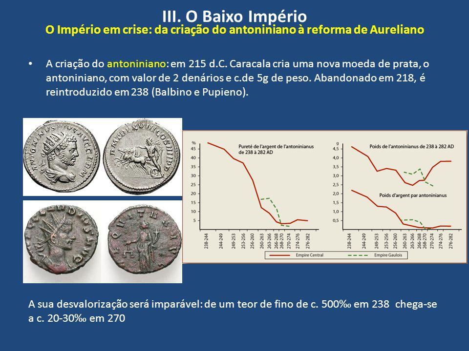 III. O Baixo Império O Império em crise: da criação do antoniniano à reforma de Aureliano A criação do antoniniano: em 215 d.C. Caracala cria uma nova
