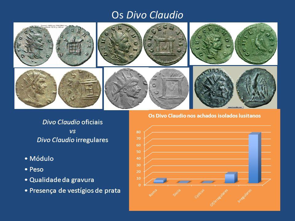 Os Divo Claudio Divo Claudio oficiais vs Divo Claudio irregulares Módulo Peso Qualidade da gravura Presença de vestígios de prata