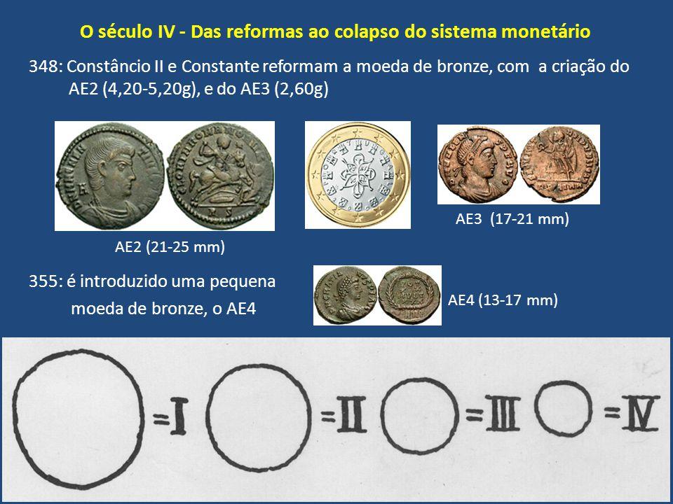 O século IV - Das reformas ao colapso do sistema monetário 348: Constâncio II e Constante reformam a moeda de bronze, com a criação do AE2 (4,20-5,20g