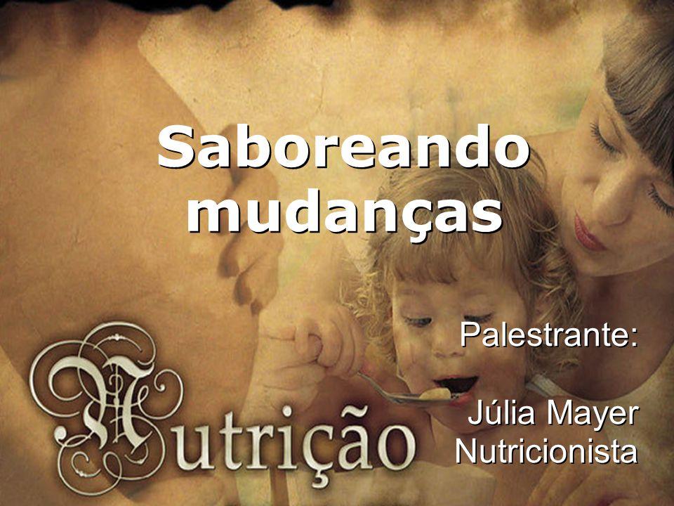 Nutrição Inteligente Nutrição Inteligente Saboreando mudanças Palestrante: Júlia Mayer Nutricionista
