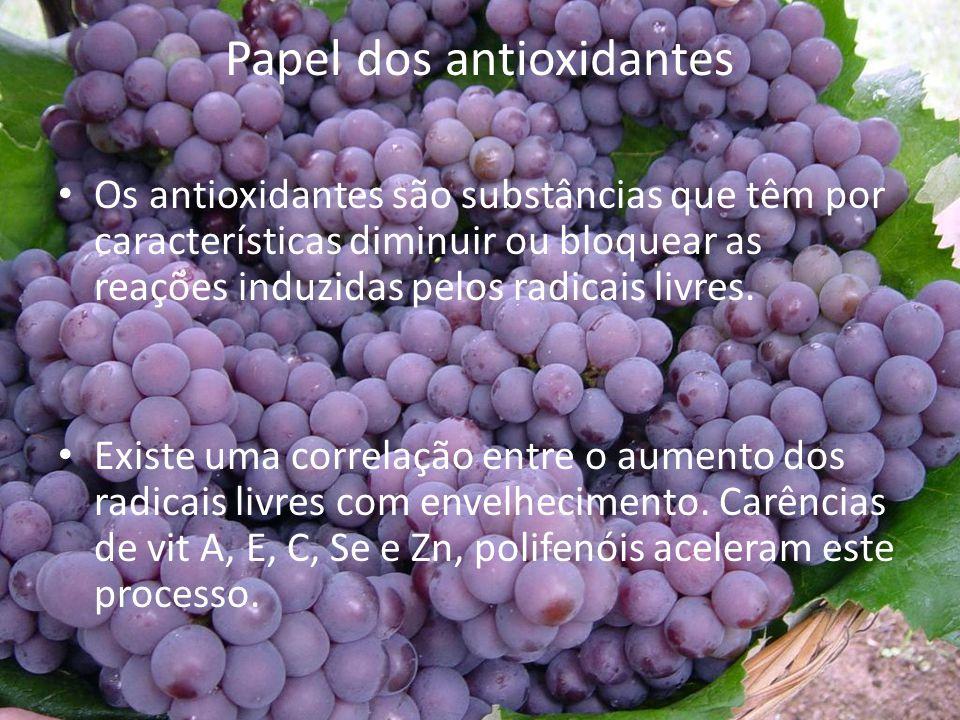 Papel dos antioxidantes Os antioxidantes são substâncias que têm por características diminuir ou bloquear as reações induzidas pelos radicais livres.