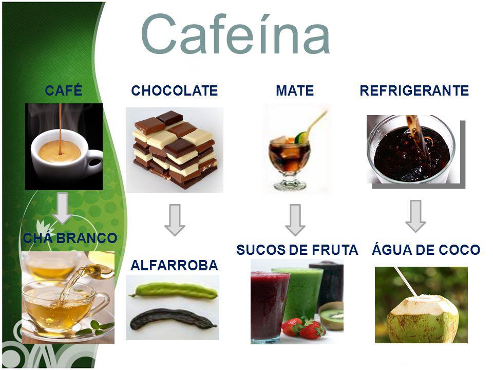 CAFÉMATECHOCOLATEREFRIGERANTE ALFARROBA CHÁ BRANCO SUCOS DE FRUTAÁGUA DE COCO Cafeína