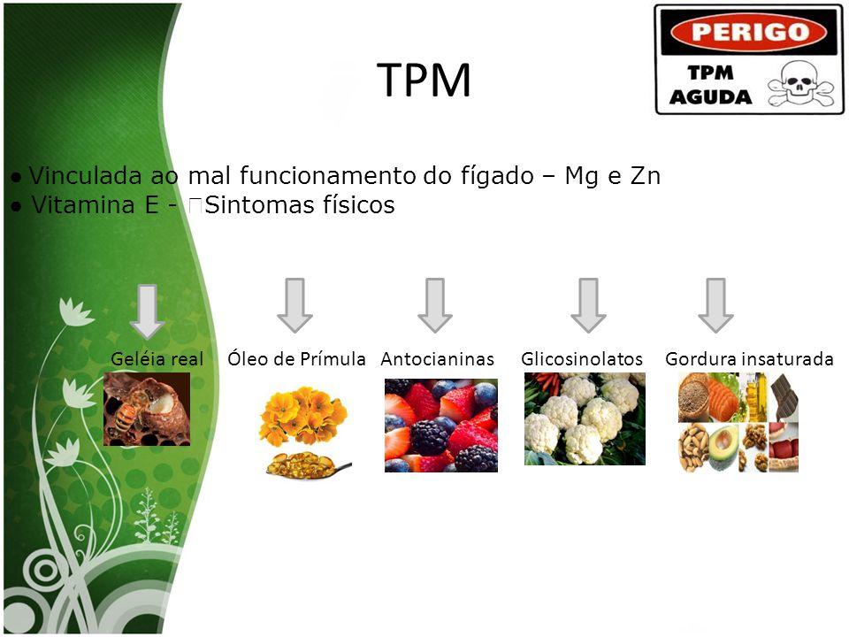 TPM ● Vinculada ao mal funcionamento do fígado – Mg e Zn ● Vitamina E - Sintomas físicos Geléia real Óleo de Prímula Antocianinas Glicosinolatos Gordu