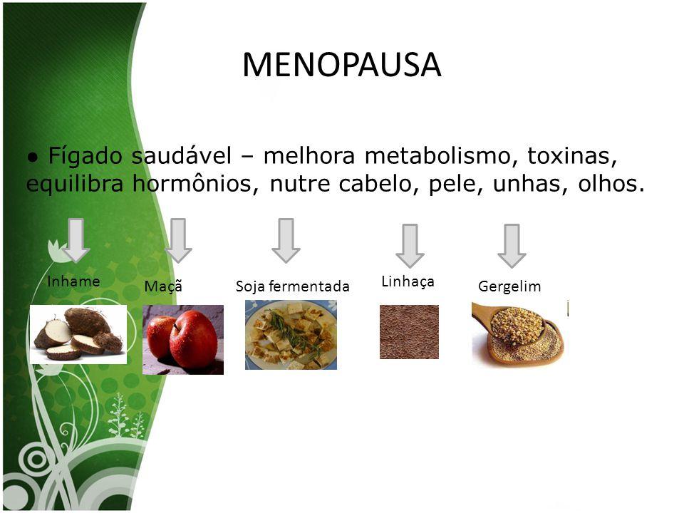 MENOPAUSA ● Fígado saudável – melhora metabolismo, toxinas, equilibra hormônios, nutre cabelo, pele, unhas, olhos. Inhame MaçãSoja fermentada Linhaça