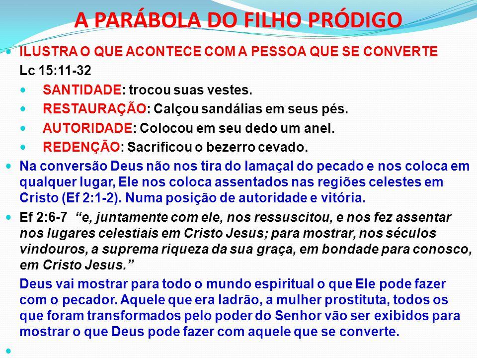 A PARÁBOLA DO FILHO PRÓDIGO ILUSTRA O QUE ACONTECE COM A PESSOA QUE SE CONVERTE Lc 15:11-32 SANTIDADE: trocou suas vestes. RESTAURAÇÃO: Calçou sandáli